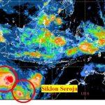 Citra satelit terkait perkembangan Siklon Tropis Seroja dan Pertumbuhan Siklon Tropis Odette, Jumat (9/4)
