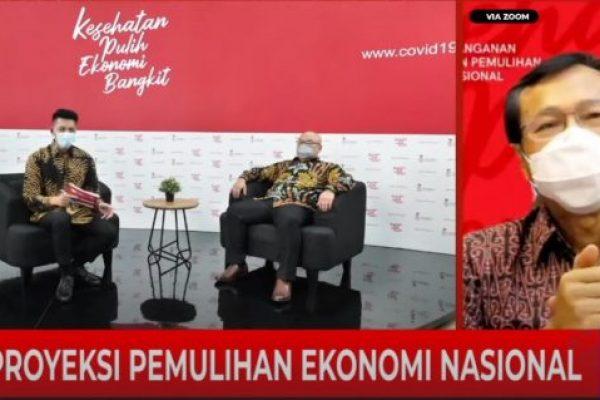 Sekretaris eksekutif I komite penanganan Covid-19 dan pemulihan ekonomi Nasional Raden Pardede bersama managing director IPSOS in Indonesia Soeprapto Tan