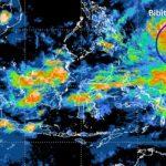 Citra satelit yang menunjukkan adanya pertumbuhan bibit siklon tropis 94W (lingkaran biru) di Samudera Pasifik utara Papua, Senin 12 April. (BMKG)