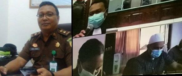 Abdul Hakim, S.H, kasi penkum dan humas kejati NTT serta tangkapan layar sidang pembacaan vonis secara virtual (ist)