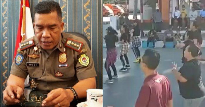Rudi Abubakar, kepala satpol pp kota Kupang serta kerumunan pada kegiatan zumba massal (yandry/Kupangterkini.com)